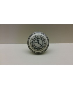GIUSTI Pomolo pomolino porcellana per mobili TIME argento antico d.35xh.27 mm