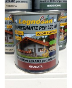 VELECA IMPREGNANTE IDROREPELLENTE PER LEGNO ALL'ACQUA LEGNOSAN COLORS 750ML Granata
