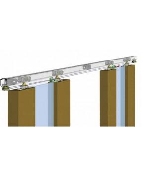 Villes kit regolabile c/Binario 2 mt per porte scorrevole apertura/chiusura simultanea