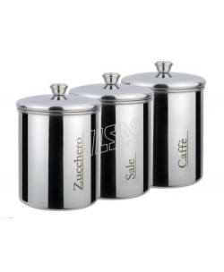 Tris barattoli in acciaio inox zucchero, caffè e sale Cl100 cad.